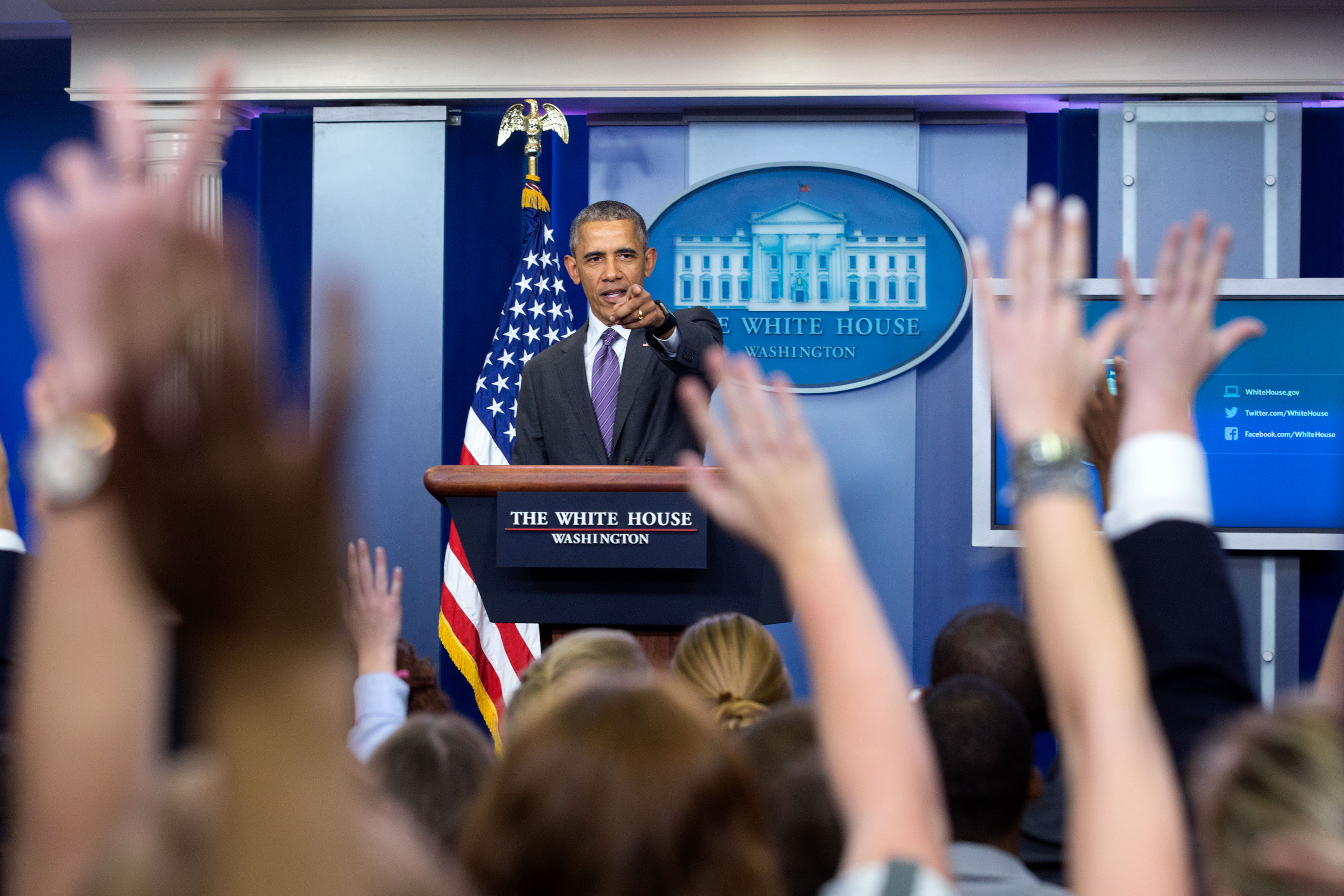 President Barack Obama takes questions from student reporters during College Reporter Day in the James S. Brady Press Briefing Room of the White House, April 28, 2016. (Official White House Photo by Amanda Lucidon)