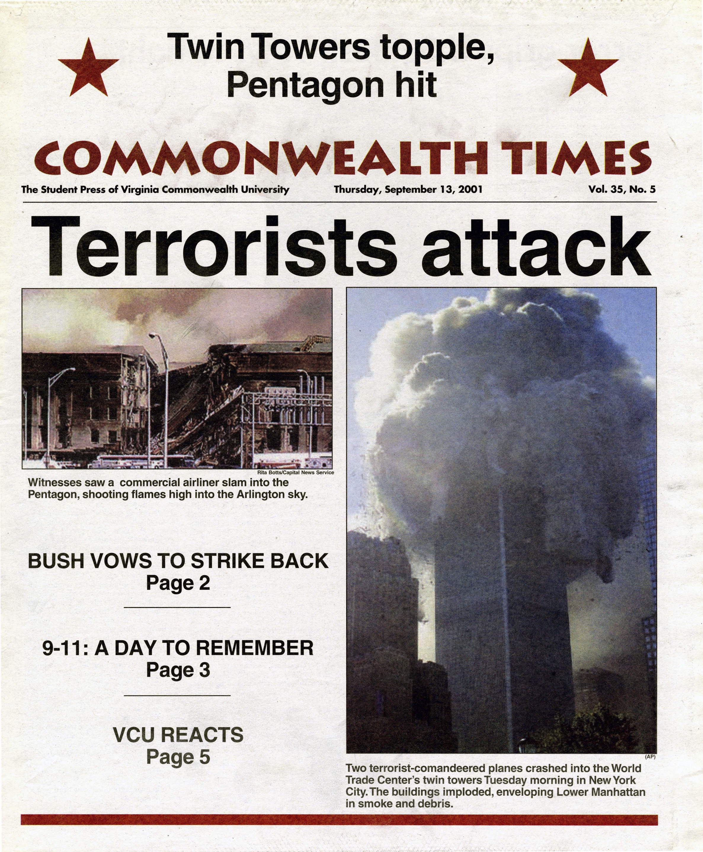 The Commonwealth Times. Sept. 13, 2001. og:image