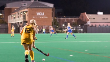Junior defender Natalie Bohmke was selected to compete in the USA Field Hockey Young Women's National Championship this past summer. Photo by Eric Marquez.
