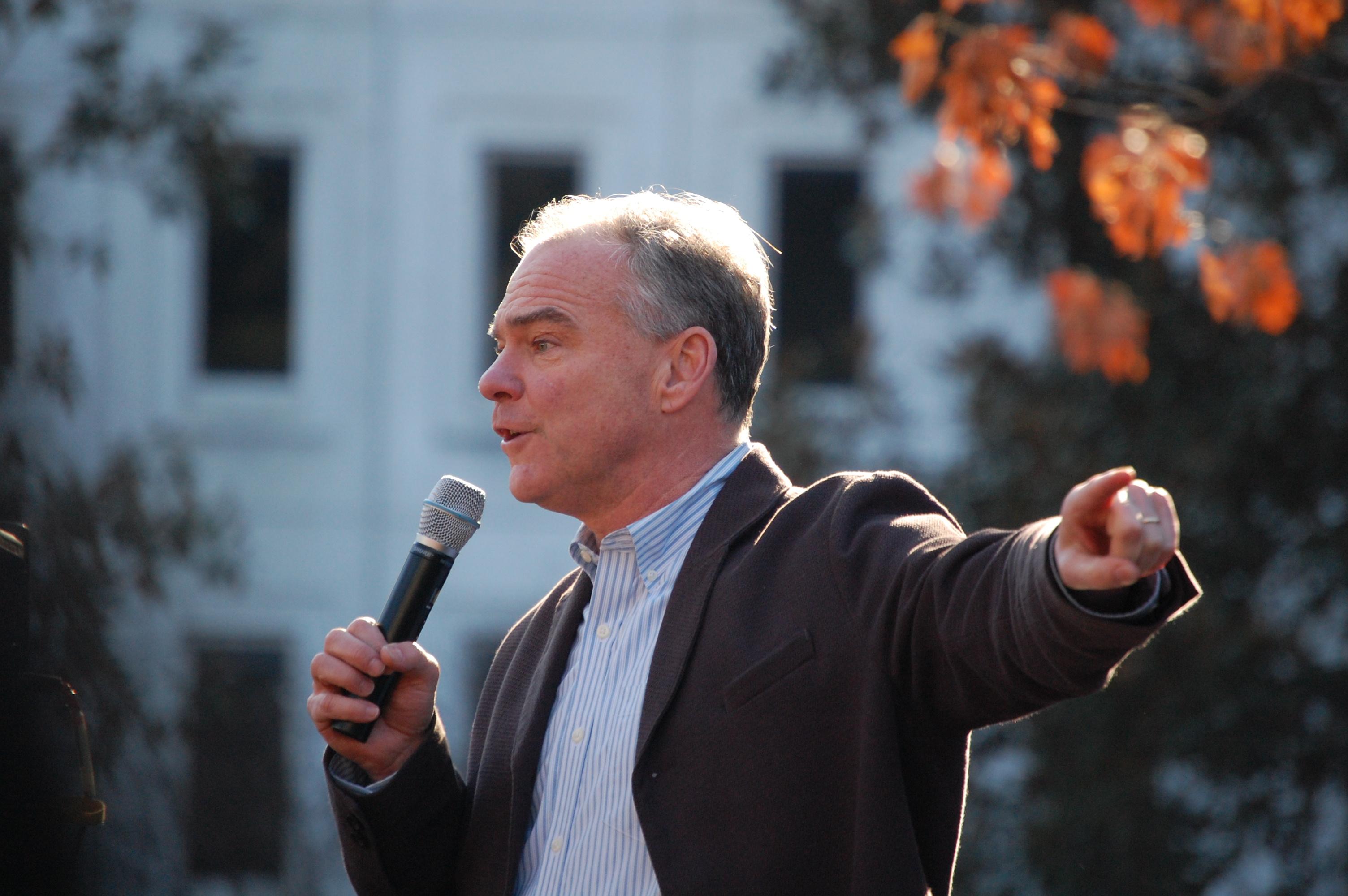 U.S. Sen. Tim Kaine spoke at the Richmond rally on Saturday. Photo by Jim Thomma.