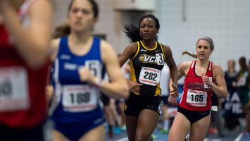 Nichelle Scott competes in the women's 800-meter prelims during Day 1 of the Atlantic 10 Indoor Track and Field Championships at Mackal Field House at the University of Rhode Island in February. Photo by Daniel Petty.
