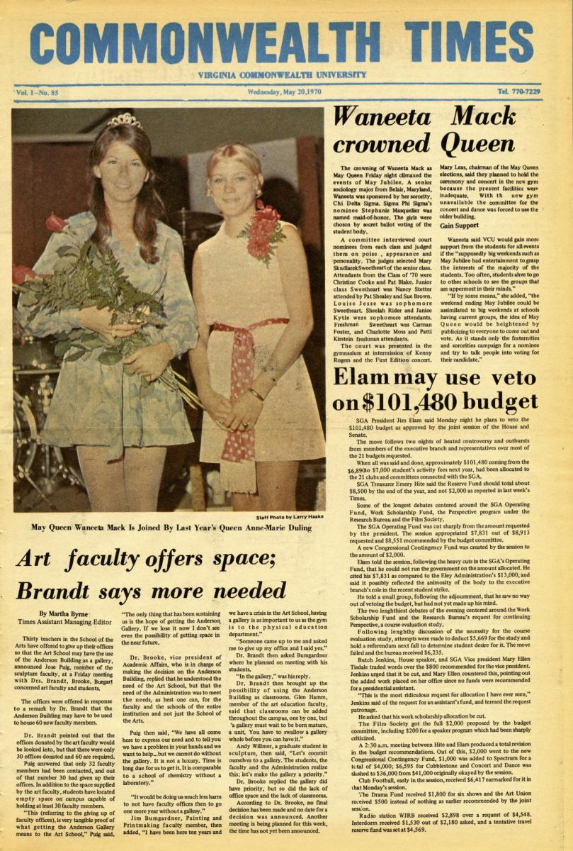 The May 20, 1970, edition of The Commonwealth Times.